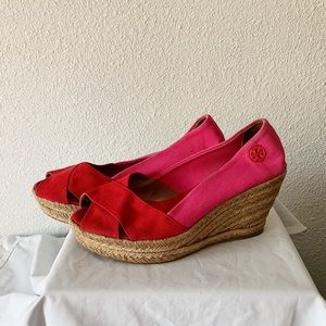 Tory Burch Pink and Red Espadrille Canvas Wedges